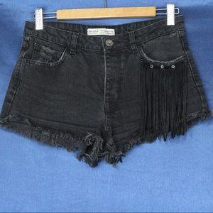 High Waist Shorts with Fringe Pocket Detail